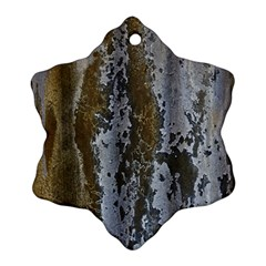 Grunge Rust Old Wall Metal Texture Snowflake Ornament (two Sides)