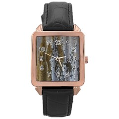 Grunge Rust Old Wall Metal Texture Rose Gold Leather Watch