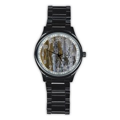 Grunge Rust Old Wall Metal Texture Stainless Steel Round Watch