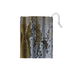 Grunge Rust Old Wall Metal Texture Drawstring Pouches (small)