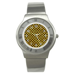 Circles3 Black Marble & Yellow Marble Stainless Steel Watch