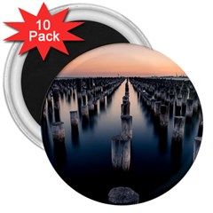 Logs Nature Pattern Pillars Shadow 3  Magnets (10 Pack)