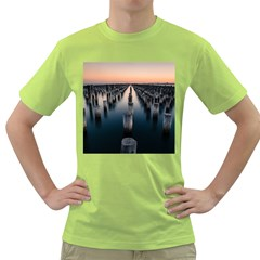 Logs Nature Pattern Pillars Shadow Green T-Shirt