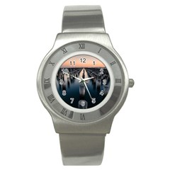 Logs Nature Pattern Pillars Shadow Stainless Steel Watch