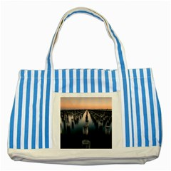 Logs Nature Pattern Pillars Shadow Striped Blue Tote Bag
