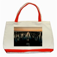 Logs Nature Pattern Pillars Shadow Classic Tote Bag (red)