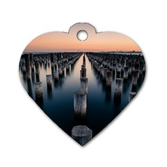 Logs Nature Pattern Pillars Shadow Dog Tag Heart (two Sides)
