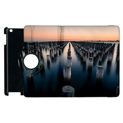 Logs Nature Pattern Pillars Shadow Apple Ipad 2 Flip 360 Case