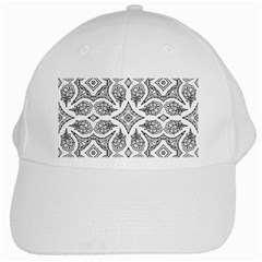 Mandala Line Art Black And White White Cap