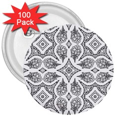 Mandala Line Art Black And White 3  Buttons (100 Pack)