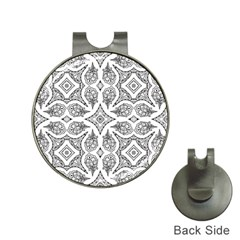 Mandala Line Art Black And White Hat Clips With Golf Markers