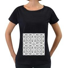 Mandala Line Art Black And White Women s Loose Fit T Shirt (black)