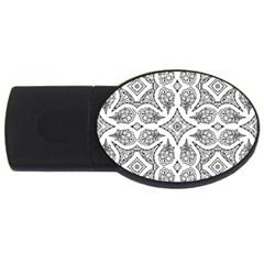 Mandala Line Art Black And White Usb Flash Drive Oval (4 Gb)