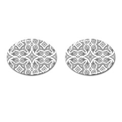 Mandala Line Art Black And White Cufflinks (Oval)