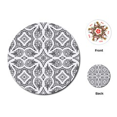 Mandala Line Art Black And White Playing Cards (round)