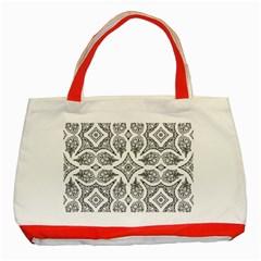Mandala Line Art Black And White Classic Tote Bag (red)