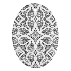 Mandala Line Art Black And White Oval Ornament (two Sides)