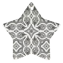 Mandala Line Art Black And White Star Ornament (two Sides)
