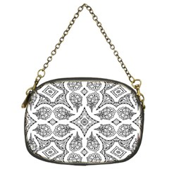 Mandala Line Art Black And White Chain Purses (two Sides)