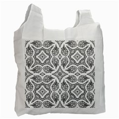 Mandala Line Art Black And White Recycle Bag (one Side)