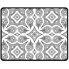 Mandala Line Art Black And White Fleece Blanket (medium)