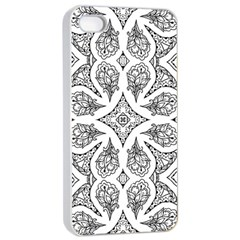 Mandala Line Art Black And White Apple Iphone 4/4s Seamless Case (white)
