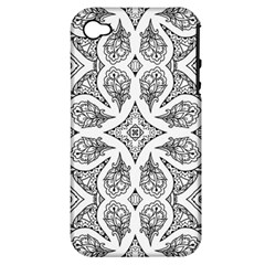 Mandala Line Art Black And White Apple Iphone 4/4s Hardshell Case (pc+silicone)