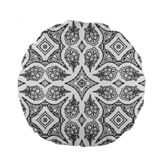 Mandala Line Art Black And White Standard 15  Premium Round Cushions