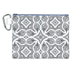 Mandala Line Art Black And White Canvas Cosmetic Bag (xxl)