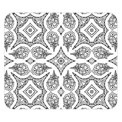 Mandala Line Art Black And White Double Sided Flano Blanket (small)