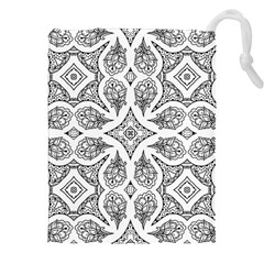 Mandala Line Art Black And White Drawstring Pouches (xxl)