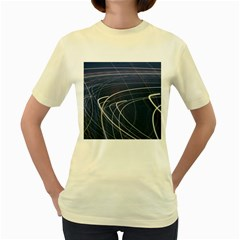 Light Movement Pattern Abstract Women s Yellow T Shirt
