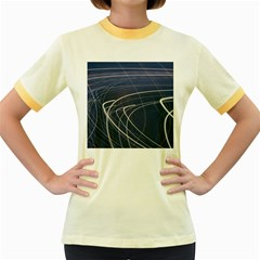 Light Movement Pattern Abstract Women s Fitted Ringer T Shirts