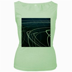 Light Movement Pattern Abstract Women s Green Tank Top