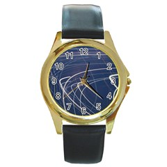 Light Movement Pattern Abstract Round Gold Metal Watch