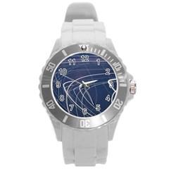Light Movement Pattern Abstract Round Plastic Sport Watch (l)