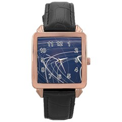 Light Movement Pattern Abstract Rose Gold Leather Watch