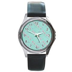 Love Flower Blue Background Texture Round Metal Watch