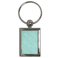 Love Flower Blue Background Texture Key Chains (Rectangle)
