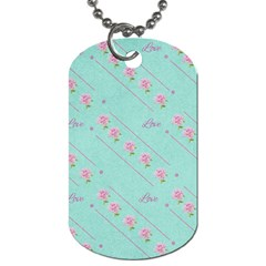 Love Flower Blue Background Texture Dog Tag (one Side)