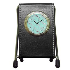 Love Flower Blue Background Texture Pen Holder Desk Clocks
