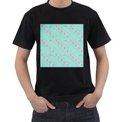 Love Flower Blue Background Texture Men s T Shirt (black) (two Sided)