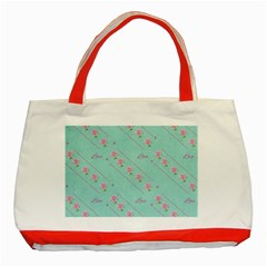 Love Flower Blue Background Texture Classic Tote Bag (red)
