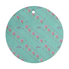 Love Flower Blue Background Texture Round Ornament (two Sides)