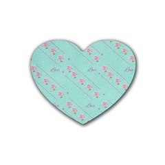 Love Flower Blue Background Texture Rubber Coaster (heart)