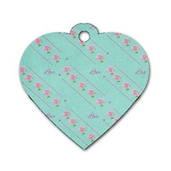 Love Flower Blue Background Texture Dog Tag Heart (one Side)