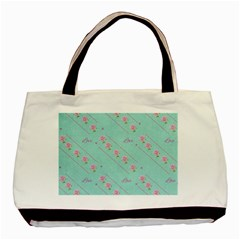 Love Flower Blue Background Texture Basic Tote Bag (two Sides)