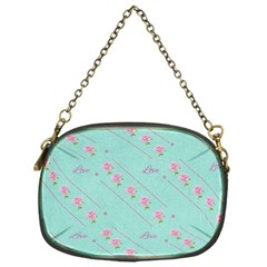 Love Flower Blue Background Texture Chain Purses (one Side)