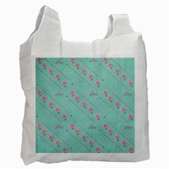 Love Flower Blue Background Texture Recycle Bag (one Side)
