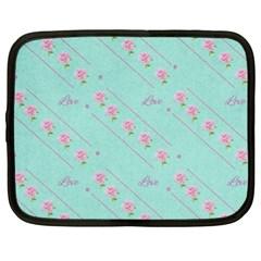 Love Flower Blue Background Texture Netbook Case (xxl)